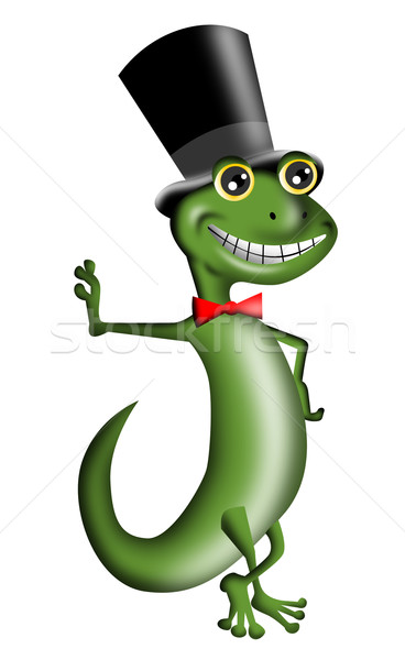 cartoon gecko with top hat and bow tie standing Stock photo © patrimonio