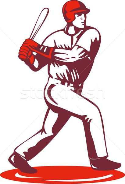Jogador de beisebol retro ilustração estilo retro masculino Foto stock © patrimonio