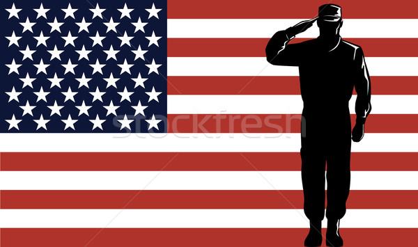 American Solder Serviceman Saluting Stock photo © patrimonio