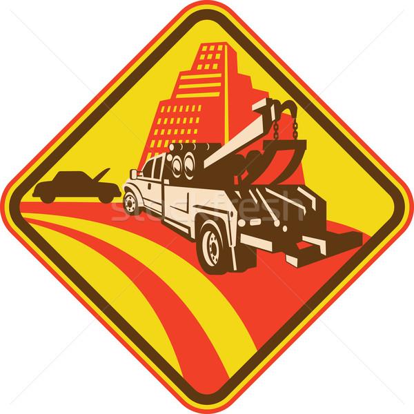 Tow truck car breakdown on road with building Stock photo © patrimonio