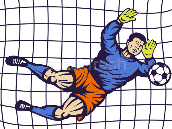 Soccer football goalie keeper saving goal Stock photo © patrimonio