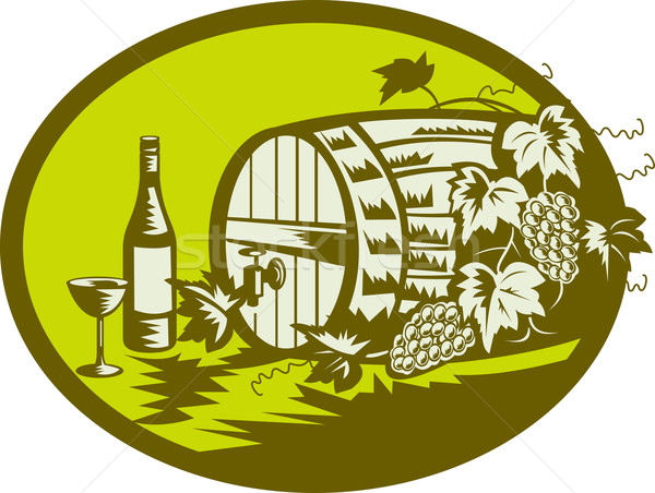 Wine barrel keg with grape vine and wine bottle and glass Stock photo © patrimonio