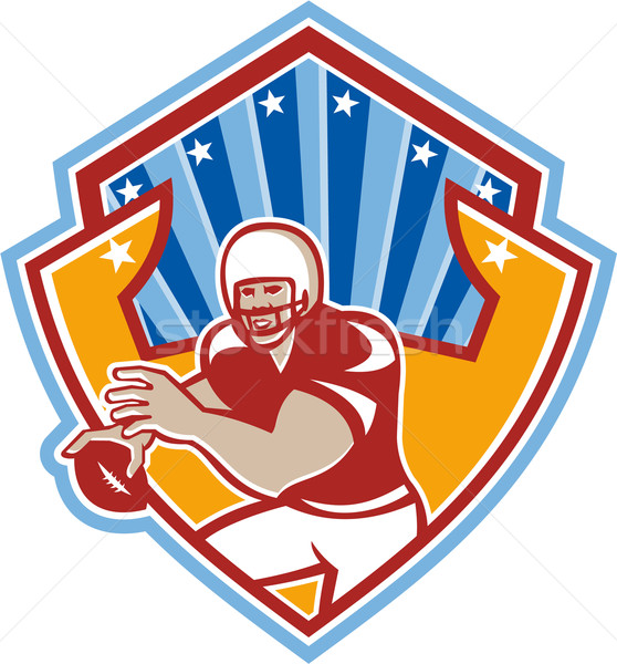 American Football Quarterback Star Shield Stock photo © patrimonio