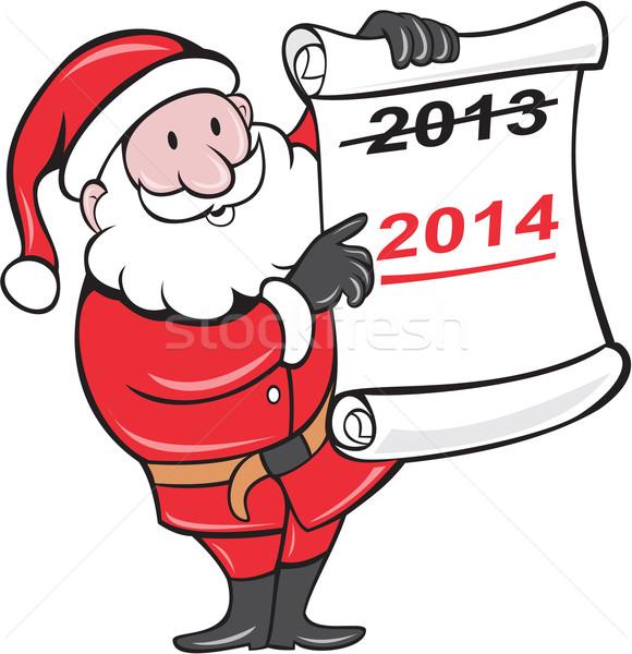 New Year 2014 Santa Claus Scroll Sign Stock photo © patrimonio