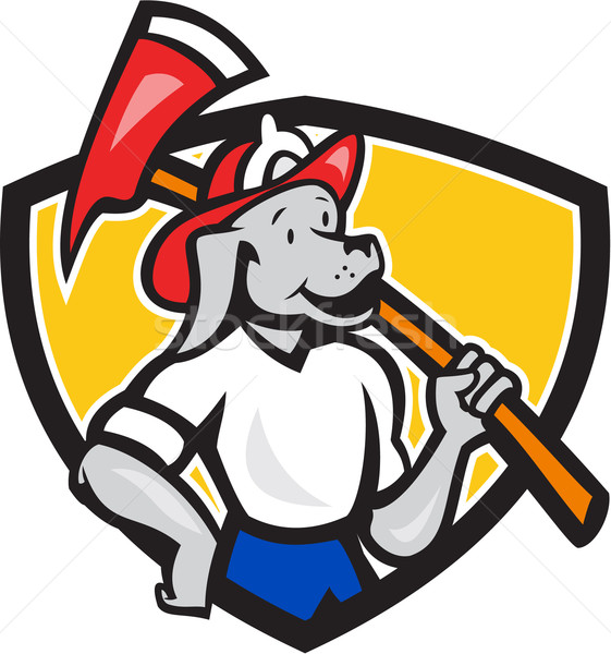 Dog Fireman Firefighter Fire Axe Shield Cartoon Stock photo © patrimonio