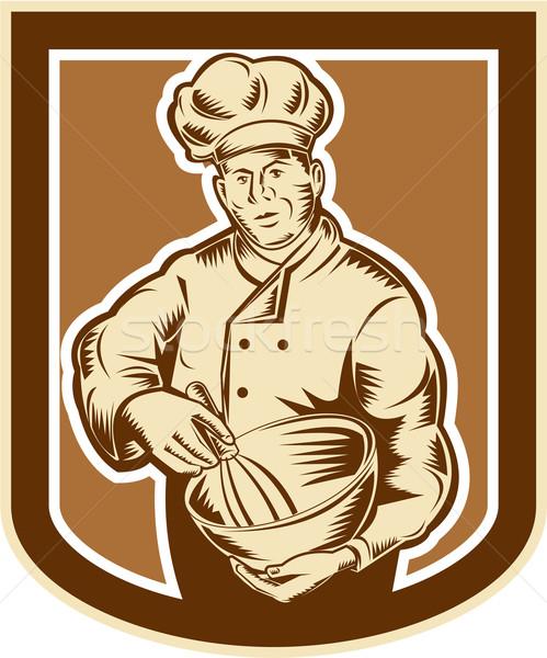 Baker Chef Cook Mixing Bowl Woodcut Retro Stock photo © patrimonio