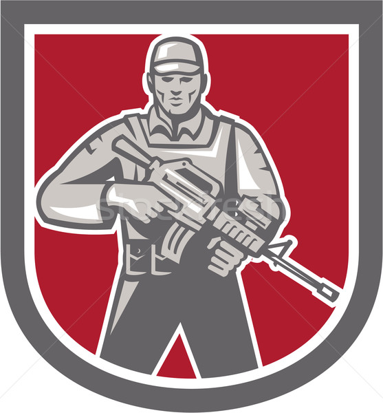 Soldier Serviceman With Assault Rifle Shield Stock photo © patrimonio