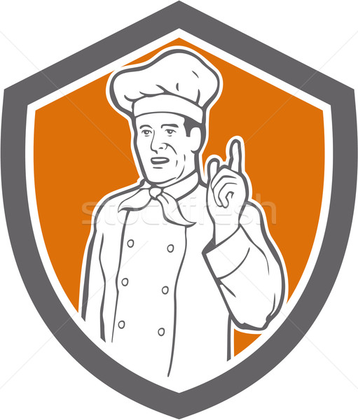 Chef Cook Baker Pointing Up Shield Stock photo © patrimonio