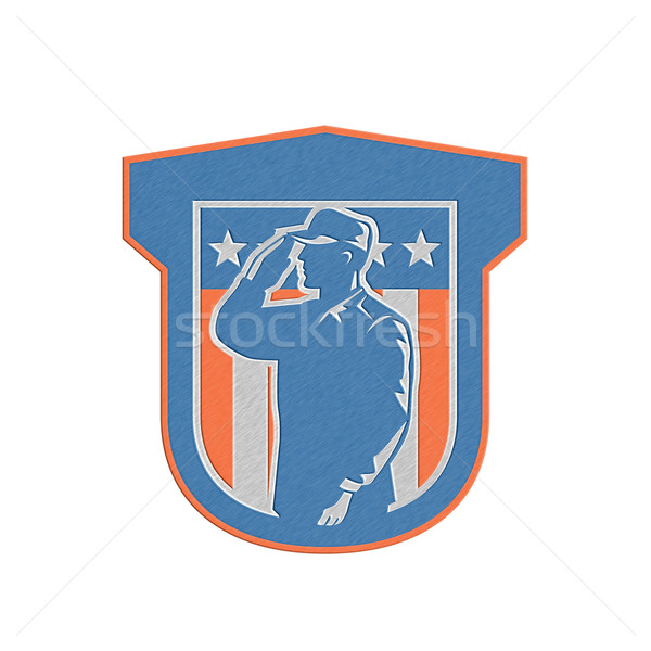 Metallic Miilitary Serviceman Salute Side Crest Stock photo © patrimonio
