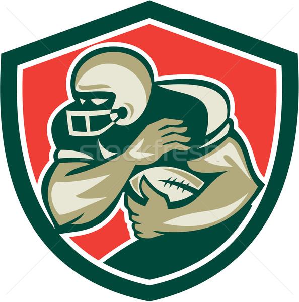 American Football Running Back Fending Shield Stock photo © patrimonio