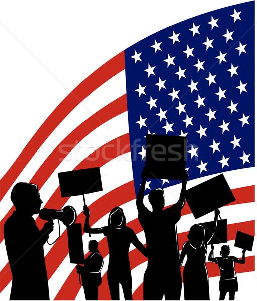 silhouetted people american flag Stock photo © patrimonio