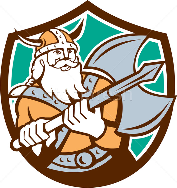 Stock photo: Viking Raider Barbarian Warrior Axe Shield Retro