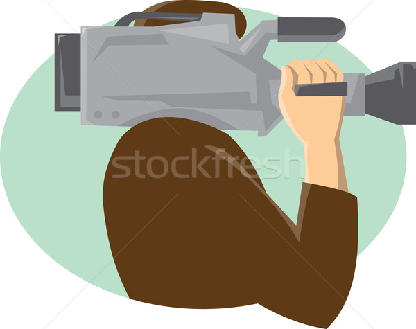 Cameraman Movie Video Camera Side Retro Stock photo © patrimonio