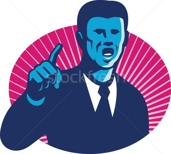 Blue Businessman Politician Pointing Retro Stock photo © patrimonio