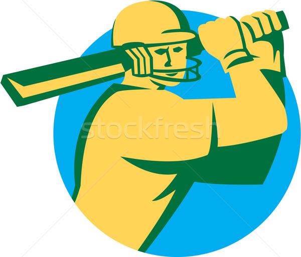 Cricket Player Batsman Batting Circle Retro Stock photo © patrimonio