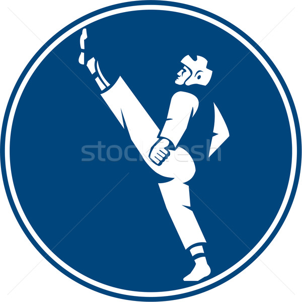 Taekwondo Fighter Kicking Stance Circle Icon Stock photo © patrimonio