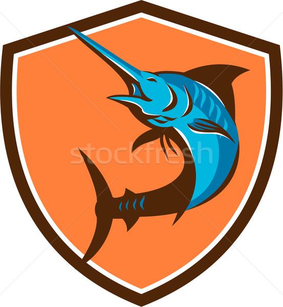 Azul peixe saltando escudo retro ilustração Foto stock © patrimonio