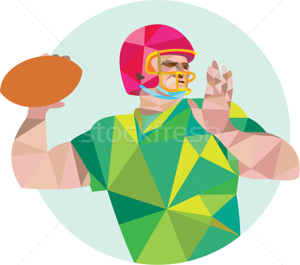 American Football QB Throwing Ball Low Polygon Stock photo © patrimonio