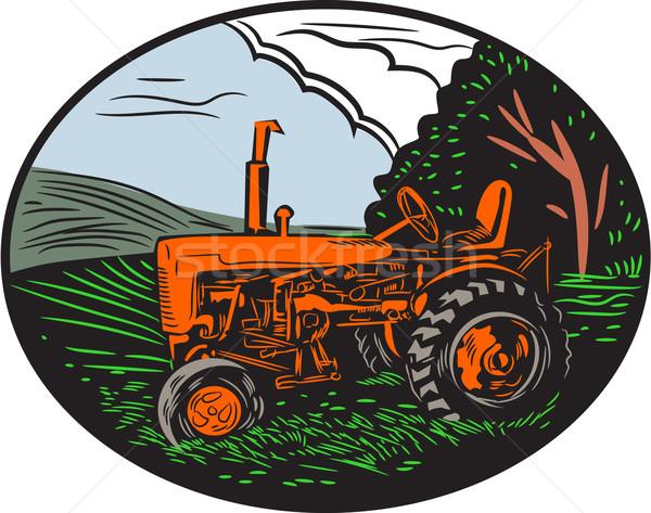 Vintage Tractor Farm Woodcut Stock photo © patrimonio