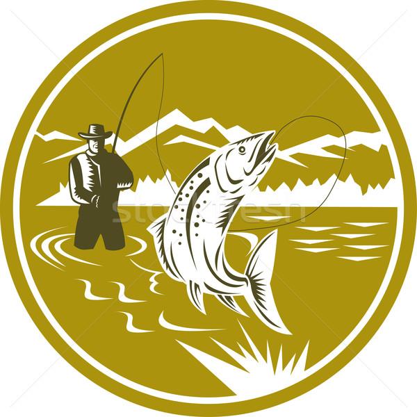 Fly Fisherman Reeling Trout Circle Retro Stock photo © patrimonio