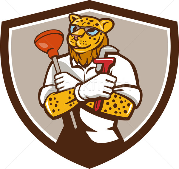 Leopard Plumber Wrench Plunger Crest Retro Stock photo © patrimonio