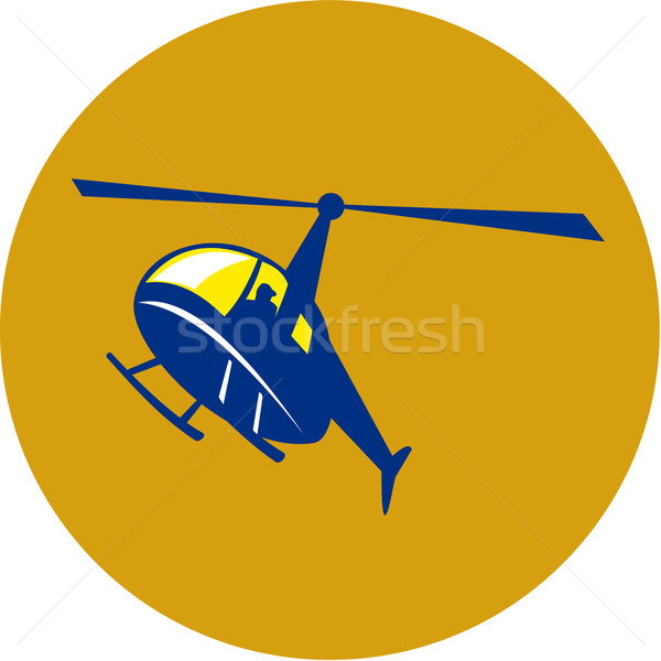 Helikopter repülés kör retro illusztráció repülés Stock fotó © patrimonio