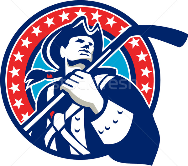 Americano patriota hockey sobre hielo palo círculo retro Foto stock © patrimonio