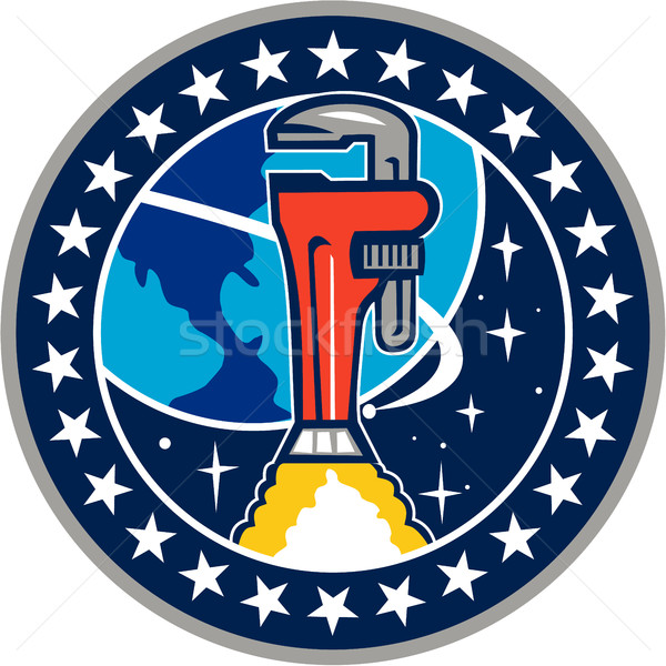 Pipe Wrench Rocket Booster Orbit Earth Circle Retro Stock photo © patrimonio