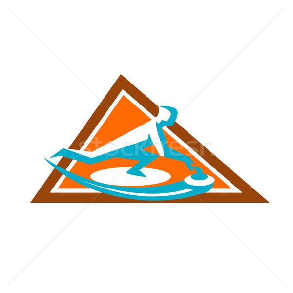 Curling Player Sliding Stone Triangle Icon Stock photo © patrimonio