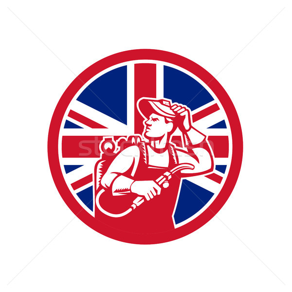 Brits exploitant union jack vlag icon retro-stijl Stockfoto © patrimonio