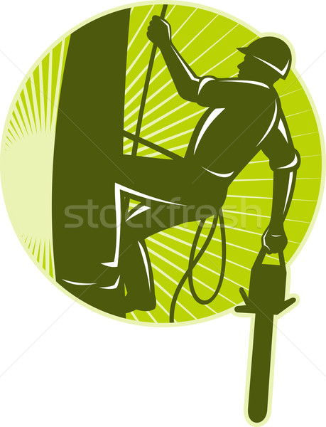 arborist tree surgeon chainsaw retro Stock photo © patrimonio