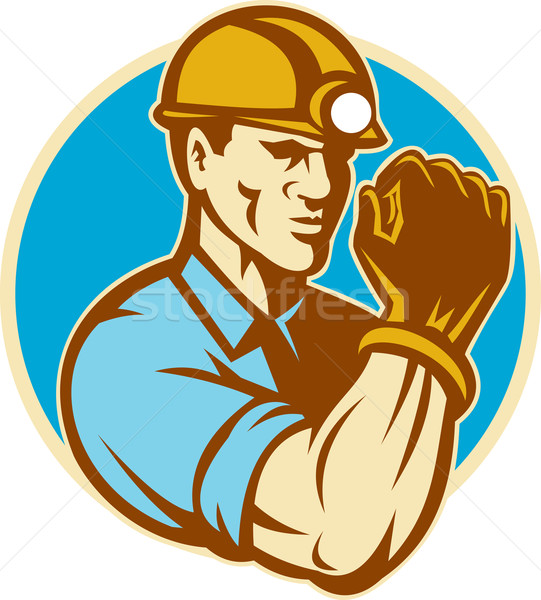 Stock photo: Coal Miner With Clenched Fist Retro