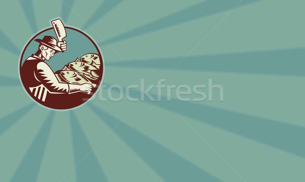 Fishmonger Butcher Knife and Fish Stock photo © patrimonio
