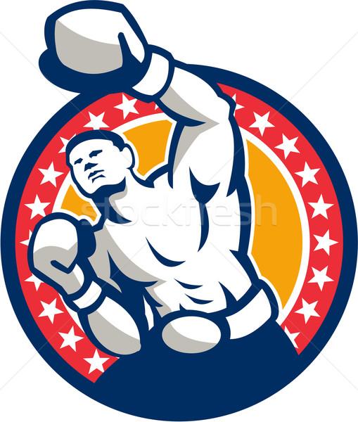 Boxer Boxing Punching Jabbing Retro Stock photo © patrimonio