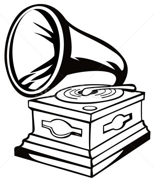Phonograph Black and White Stock photo © patrimonio
