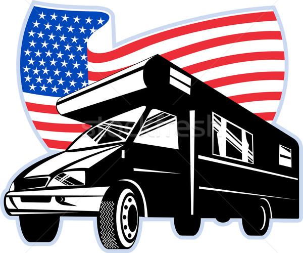 Van amerykańską flagę gwiazdki grafiki Zdjęcia stock © patrimonio