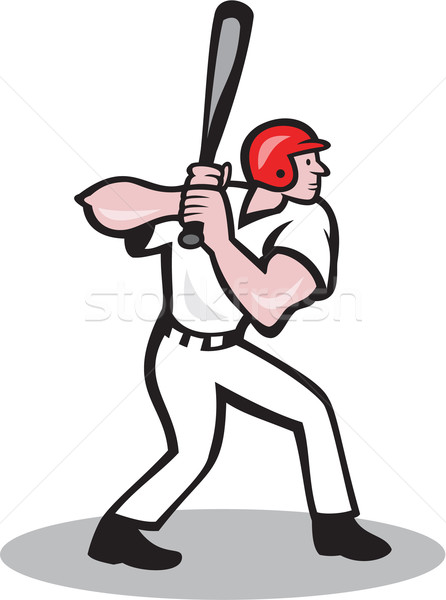 Jogador de beisebol lado desenho animado ilustração bat estilo Foto stock © patrimonio