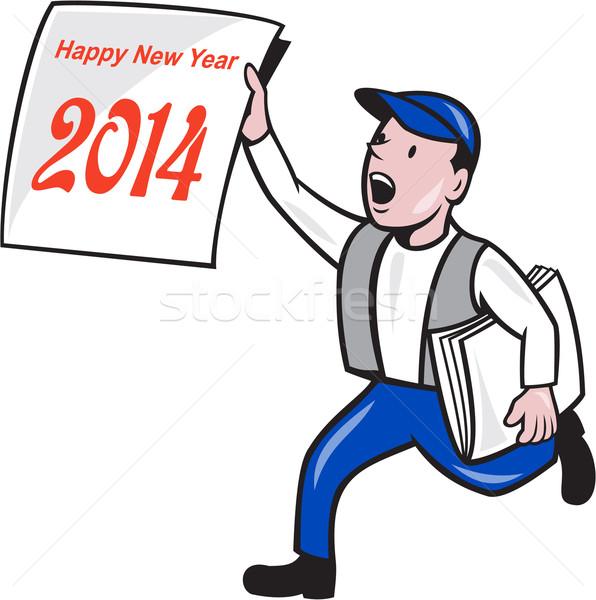 New Year 2014 Newspaper Boy Showing Sign Cartoon Stock photo © patrimonio