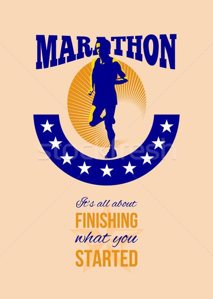 マラソン ランナー レトロな ポスター グリーティングカード ストックフォト © patrimonio