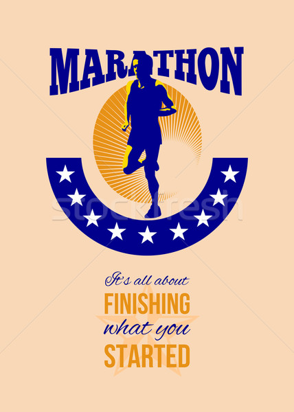 Marathon Runner Finishing Retro Poster Stock photo © patrimonio