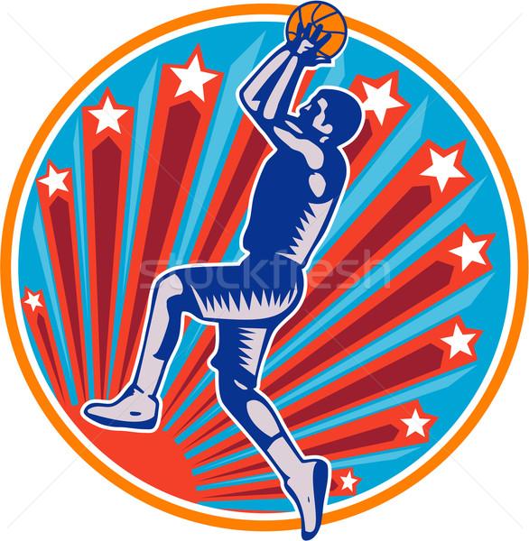Basketball Player Jump Shot Ball Circle Woodcut retro Stock photo © patrimonio