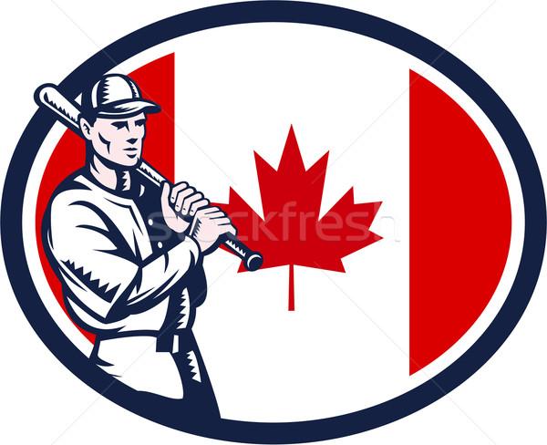 Canadian Baseball Batter Canada Flag Retro Stock photo © patrimonio