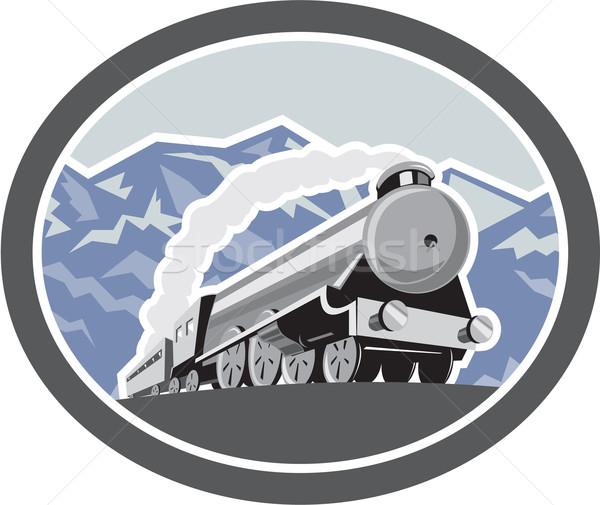 Foto stock: Vapor · trem · locomotiva · montanhas · retro · ilustração