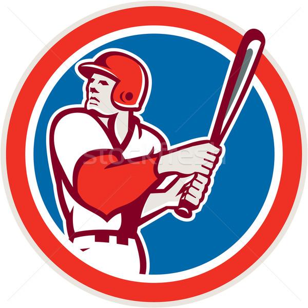 American Baseball Player Batter Hitter Circle Retro Stock photo © patrimonio