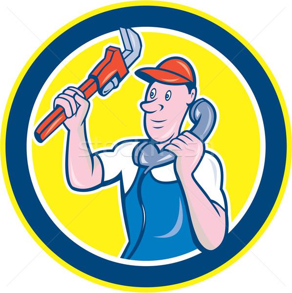 Plumber Monkey Wrench Telephone Circle Cartoon Stock photo © patrimonio