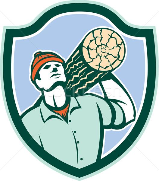 Logger Forester Carry Log Shield Retro Stock photo © patrimonio