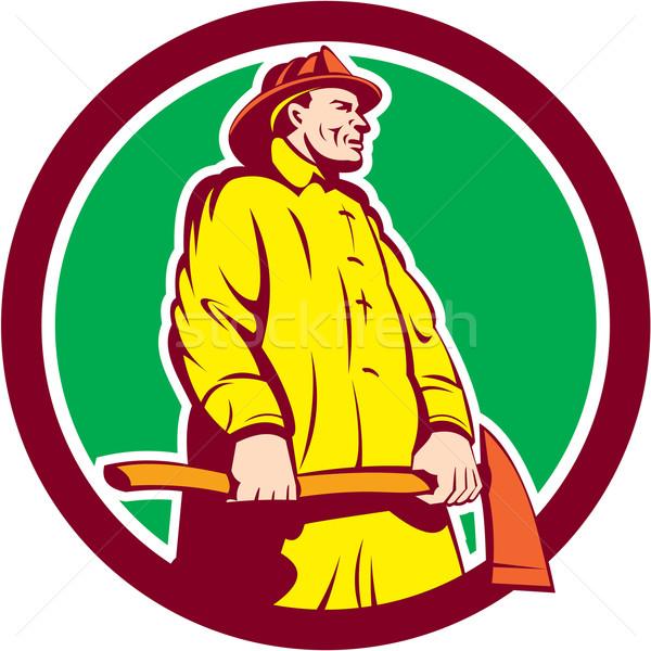消防 消防士 立って 斧 サークル レトロな ストックフォト © patrimonio