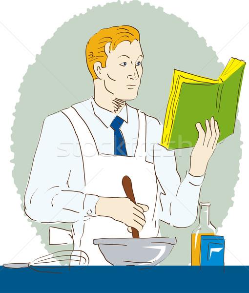 Man cooking and stirring reading a book white background Stock photo © patrimonio