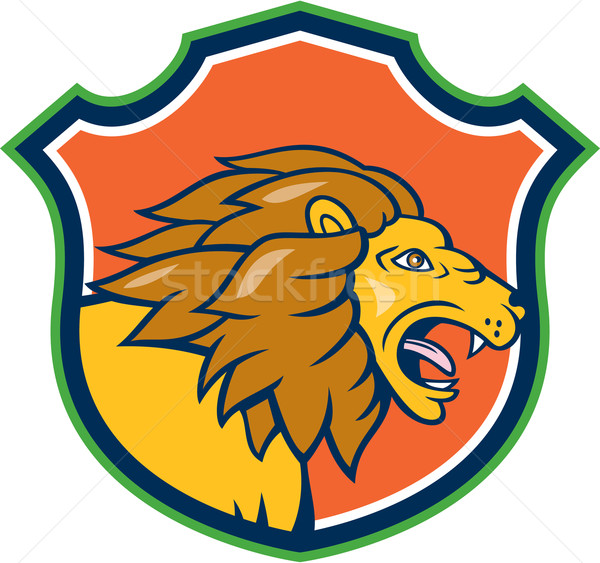 Angry Lion Head Roar Shield Cartoon Stock photo © patrimonio