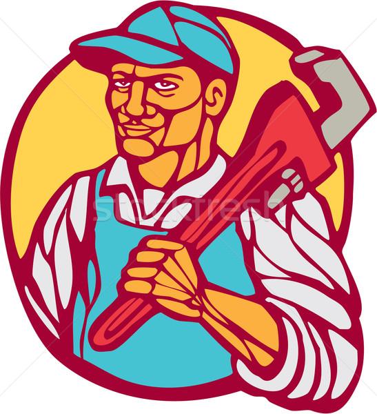 Plumber Carry Wrench Circle Woodcut Linocut Stock photo © patrimonio